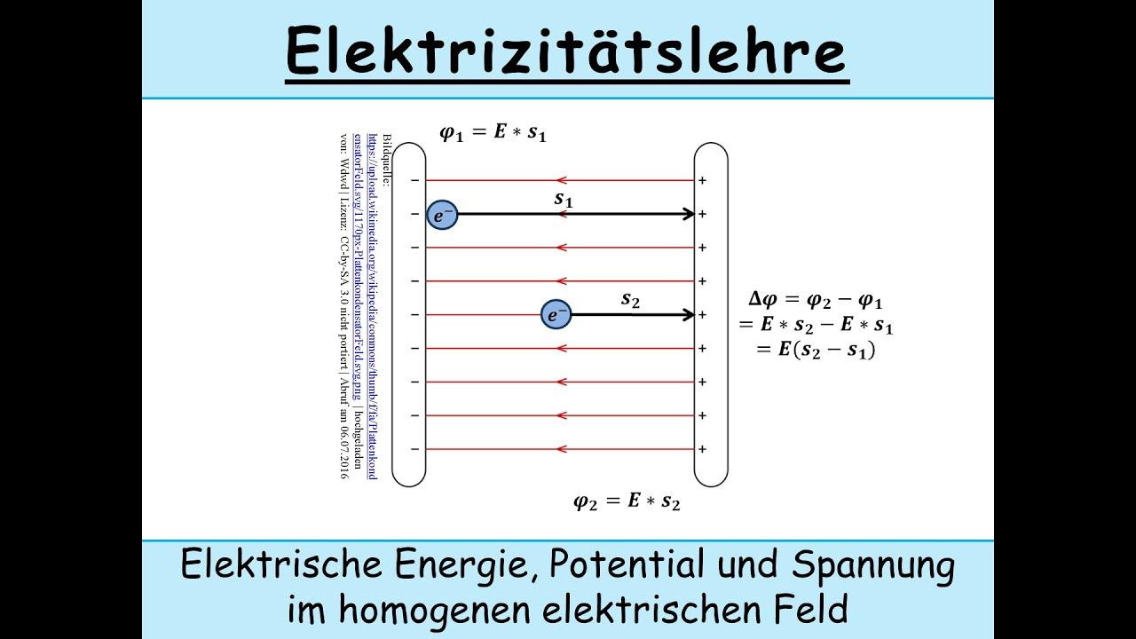 Elektrisches Potential Berechnen : elektrische energie elektrisches potential und elektrische spannung im homogenen elektrischen ~ Themetempest.com Abrechnung