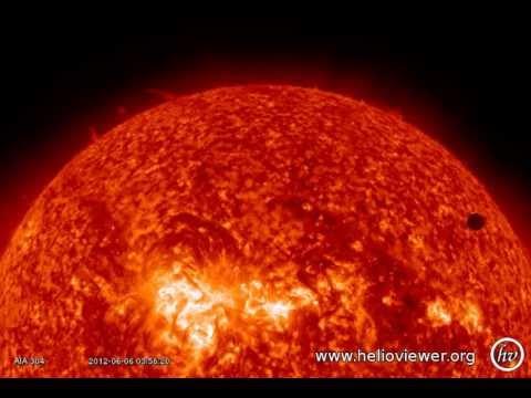 Transit of Venus AIA 304 (2012-06-06 03:45:44 - 2012-06-06 06:44:32 UTC)