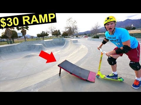 $30 RAMP VS SKATEPARK TRICKS ON SCOOTER!