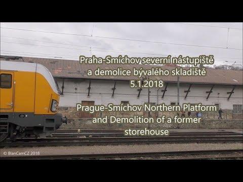 Praha-Smíchov severní nástupiště: demolice starého skladiště a Bobina Arriva | Storehouse demolition