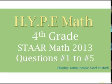 4th Grade STAAR Math Test 2013 Question #1 to #5