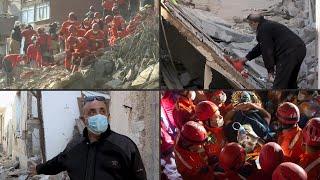 Nach dem schweren erdbeben in der Ägäis suchen die rettungskräfte türkei weiter Überlebenden – mit erfolg. auf griechischen insel samos traue...