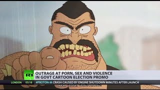 Vile Vote-Catcher: Outrage at porn, sex & violence in Danish election cartoon