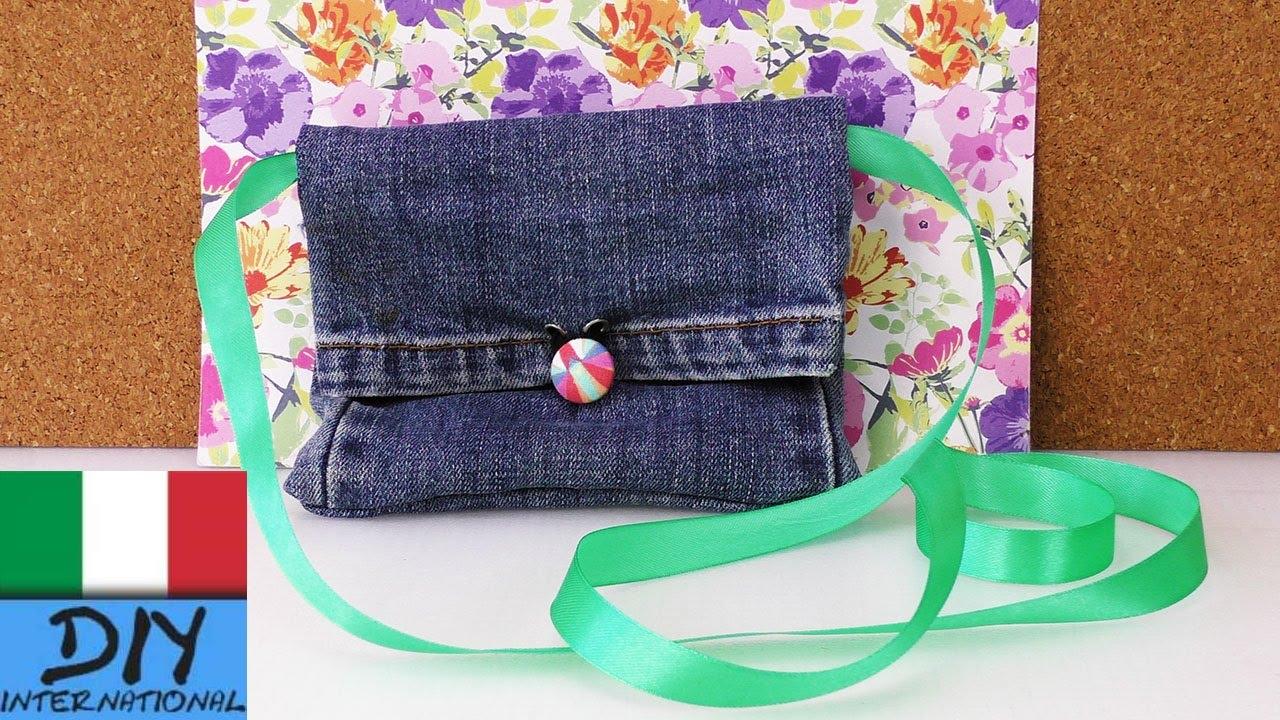 Diy recycling jeans borsa portemonnaie fai da te con for Borse fai da te jeans