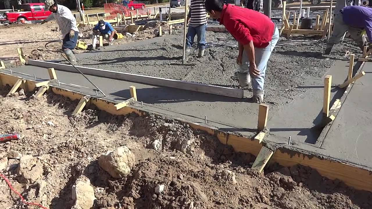 Screeding A Very Stiff Concrete Mix For A Houston Slab On