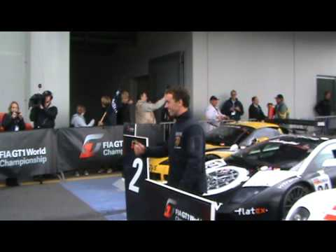 FIA GT1 World Championship Nurburgring P Kox congratulates C Haase with 2nd place