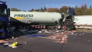 A7: Unfall mit drei LKW bei Lutterberg - 11.10.2018