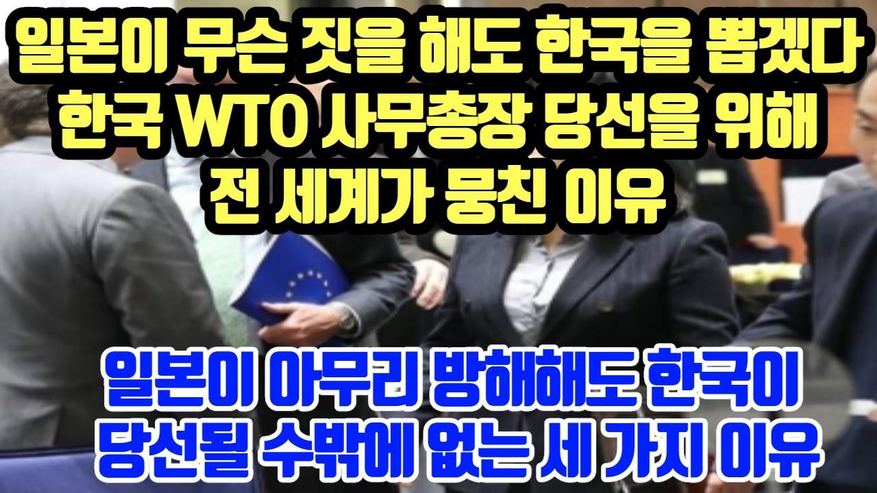 일본이 무슨 짓을 해도 한국을 뽑겠다//한국 WTO 사무총장 당선을 위해 전 세계가 뭉친 이유//일본이 아무리 방해해도 한국이 당선될 수밖에 없는 세 가지 이유