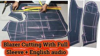 [DETAILED] cutting of blazer | DIY Blazer Cutting with Full Sleeve blazer cutting video