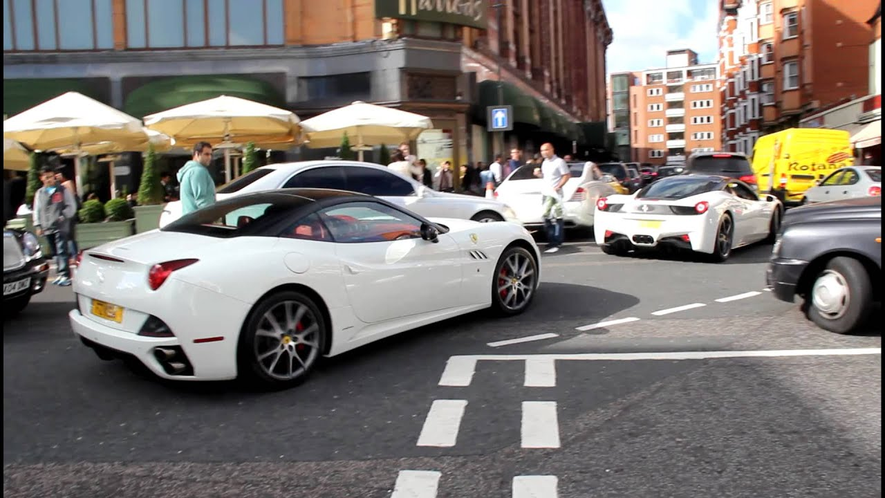 Arab supercars in london 2012 ferrari california and 458 italia in arab supercars in london 2012 ferrari california and 458 italia in white great sounds youtube vanachro Image collections