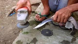 Cara Membuat Pisau Dari Bekas Mata Potong Batu/ How To Make A Knife..