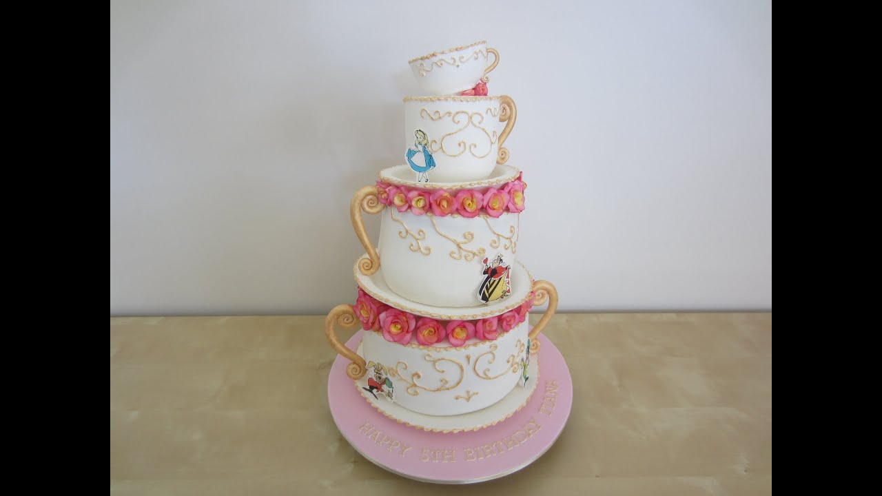 alice in wonderland wonky stacked teacups cake how to colour the