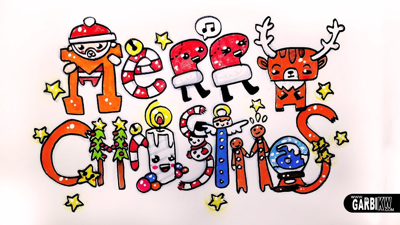 Merry Christmas - How To Draw Cute and Kawaii Letters by ...