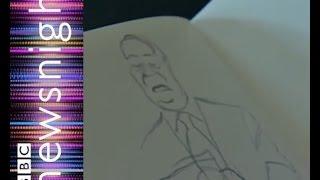 Cartoonist Steve Bell on how to draw Nigel Farage - Newsnight