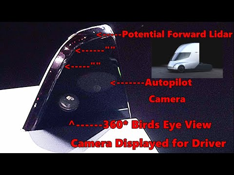 Tesla Semi Autopilot Cameras 360 and Potential Lidar