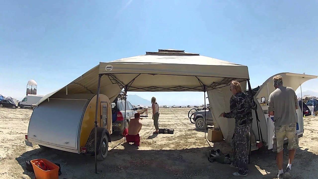 & Teardrop Trailer Burning Man Camp Setup - YouTube