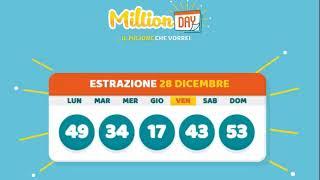 Estrazione MillionDAY 28 Dicembre 2018