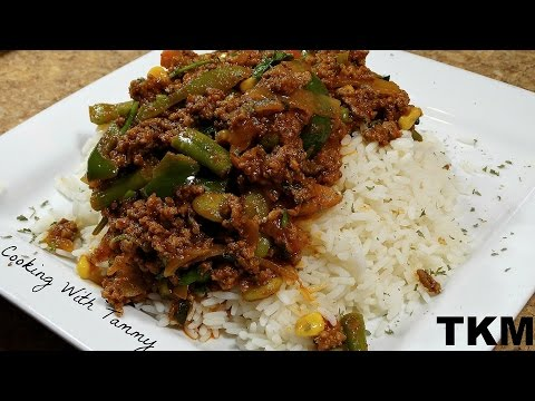 Ground Beef And Veggies Over Rice