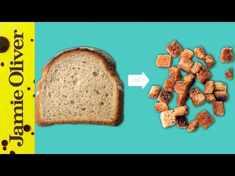 How to make seasoned croutons out of sliced bread