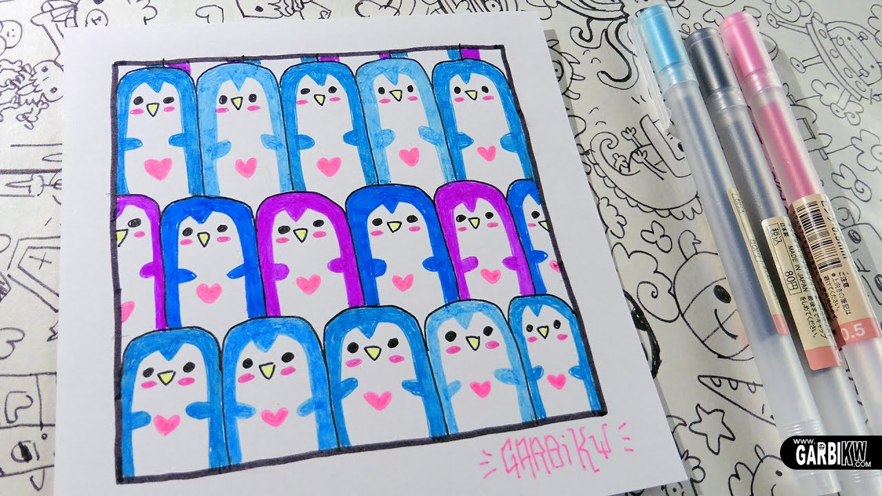 Cute penguins how to draw patterns for your doodles by for Cute easy patterns to draw