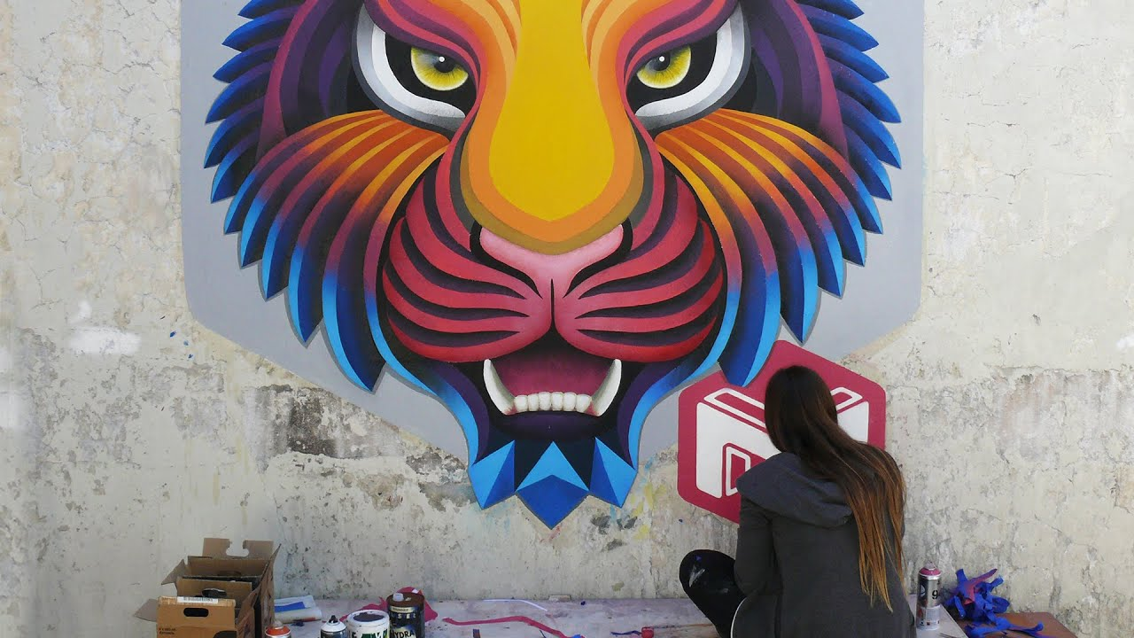 Tiger graffiti 3d mural timelapse gopro hd youtube for 3d mural painting tutorial