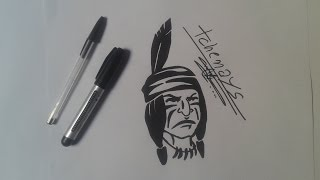 how to draw American Indian tattoo....draw speed American Indian