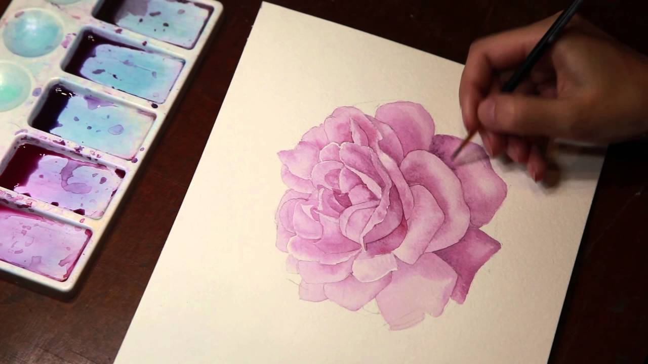 Drawing a rose watercolor youtube for How to paint a rose in watercolor step by step