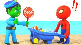 HULK POLICE STOPS SPIDERMAN AT THE BEACH ❤ Spiderman, Hulk & Frozen Play Doh Cartoons For Kids