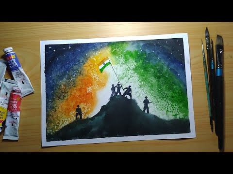 Independence Day Painting In Watercolor For Beginners