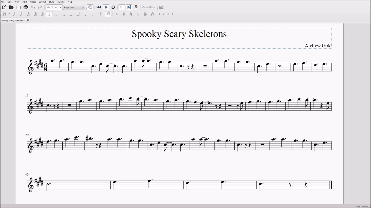 How to play spooky scary skeletons on clarinet