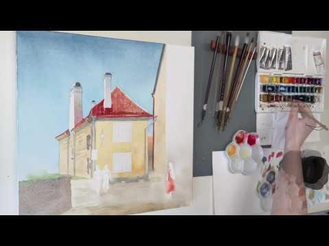"Watercolor. ""Summer in Tallinn""."