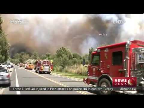 Over 1,300 personnel fighting 'Bluecut Fire' in California   CCTV News   CCTV com English