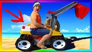 Funny Baby Unboxing And Assembling The POWER Wheel Ride on Tractor Buldozer Excavator