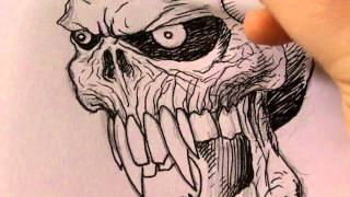 Draw A Vampire Skull Video Tutorials 1-3(See some quick vampire skull pencil drawings in action here - https://www.youtube.com/watch?v=ivNqz_KcSBw Draw fantasy art stuff - http://drawfantasyart.com ..., 2012-05-28T15:03:31.000Z)