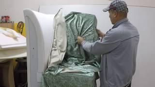 Угол дивана, обтягивание тканью.