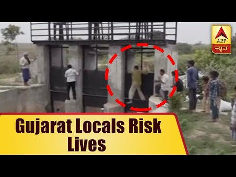 Gujarat Locals Risk Lives, Cross Canal Through Collapsed Bridge | ABP News