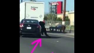 Disturbing case of road rage when woman is dragged on freeway during rush hour