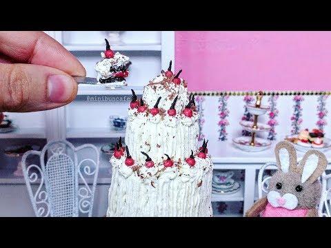 Miniature Black Forest Cake - Chocolate Cherry And Cream Cake - Mini Food - Miniature Cooking ASMR