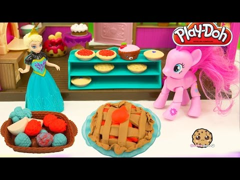 Playdoh Playful Pies Maker Playset With MLP Pinkie Pie And Frozen Queen Elsa - Cookieswirlc Video
