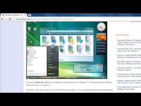 How To Set Windows Vista Theme For Windows 7