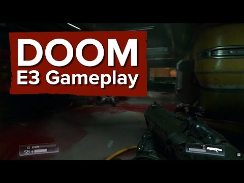 DOOM Gameplay Demo - E3 2015 Bethesda Conference - Finishers, big guns and a chainsaw poster