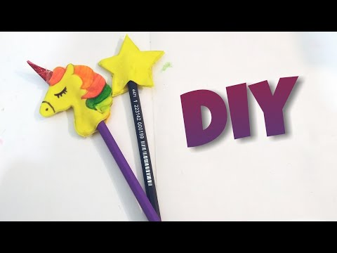 DIY 2 amazing pencil toppers | unicorn and star|