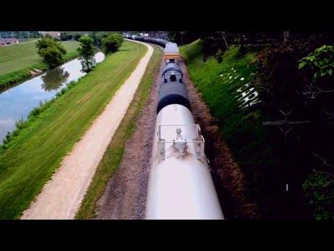 Top down POV  of a freight train in Galena, IL