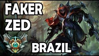 SKT T1 Faker plays ZED vs AHRI MID Ranked Master Brazil thumbnail