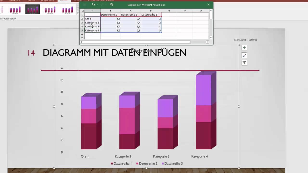 12(16) Microsoft Powerpoint 2016 - Diagramm mit Daten einfügen ...