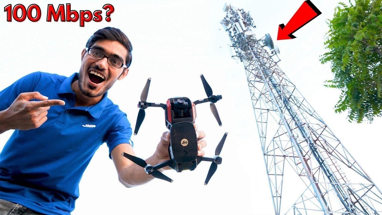 मोबाइल टावर के ऊपर कितनी इंटरनेट स्पीड आएगी? Testing Internet Speed Using Drone |