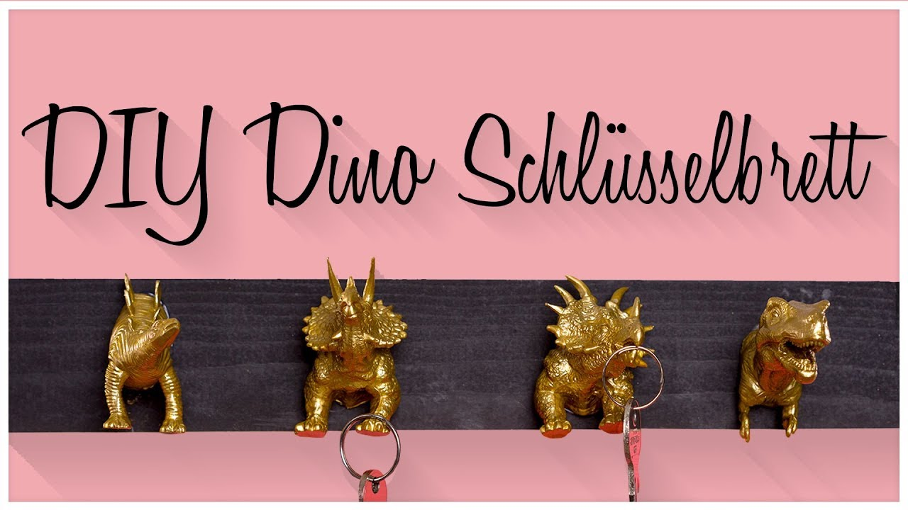 diy schl sselbrett mit dinos selber machen youtube. Black Bedroom Furniture Sets. Home Design Ideas