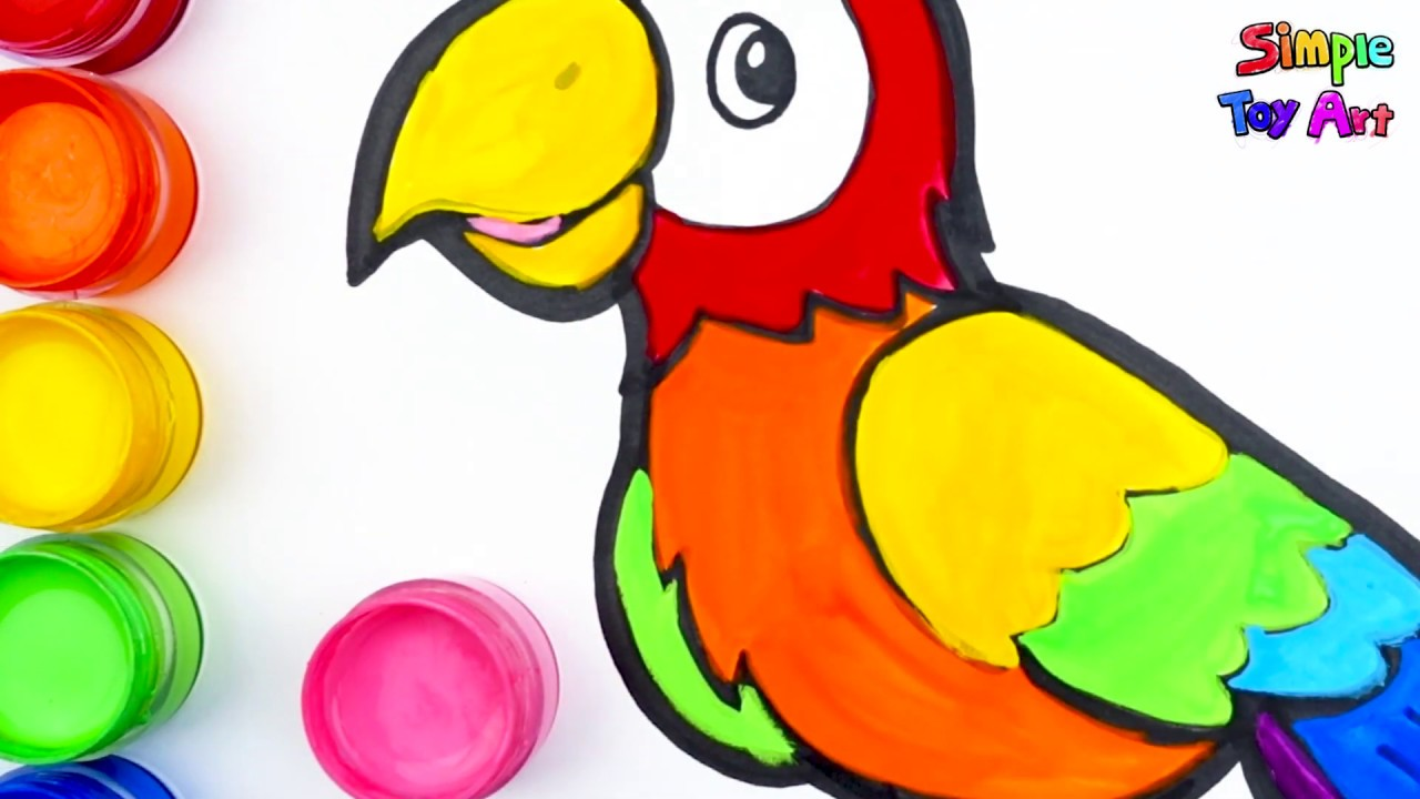 Glitter Rainbow Parrot coloring and drawing Learn Colors ...