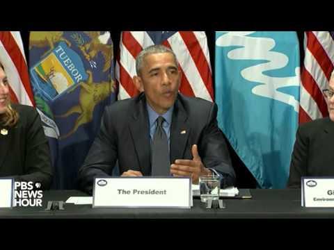 President Obama tastes filtered Flint, Michigan water