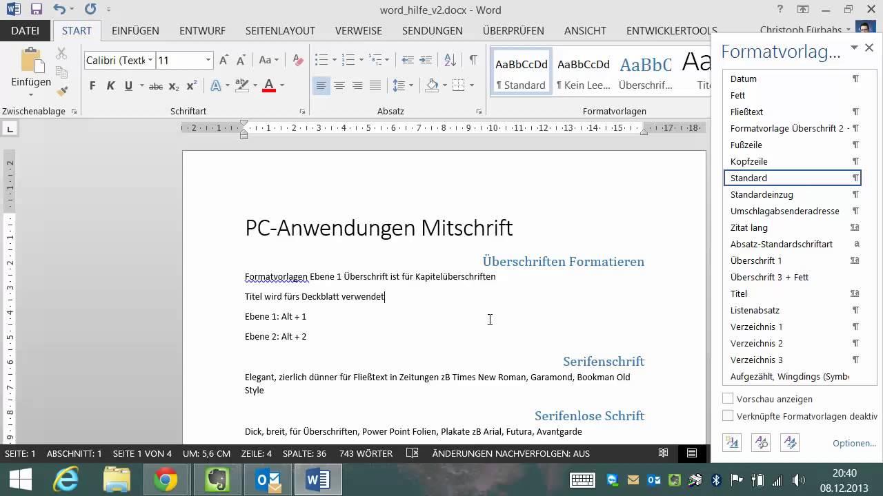 Word 2013 Teil 1 Formatvorlagen Überschriften ...